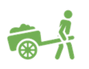 clipart of a person pulling a two-wheeled cart
