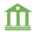 clipart of a building with pillars and a dollar sign