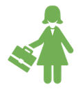 clipart of a woman in a dress holding a briefcase
