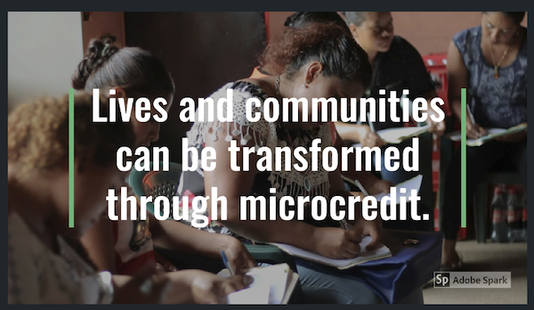 "Microcredit recipients fill out paperwork in this image from a video about the microcredit program. Text over the image reads ""Lives and communities can be transformed through microcredit."""