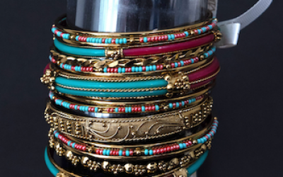 An assortment of colorful bangles