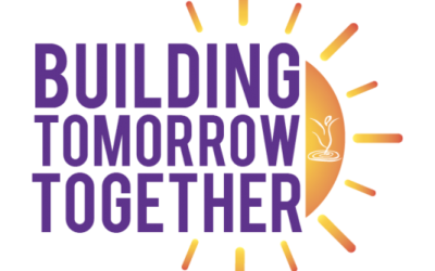 a yellow sun shining behind the words Building Tomorrow Together